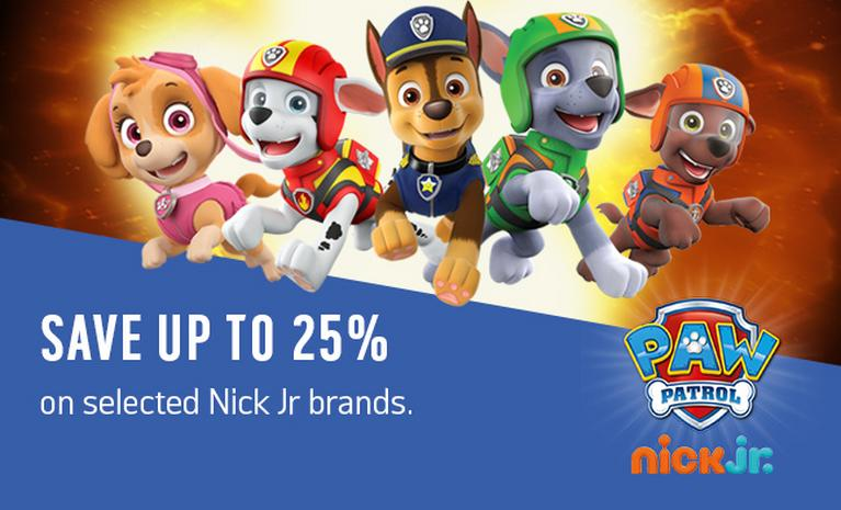 Save up to 25% on selected Nick Jr. brands.