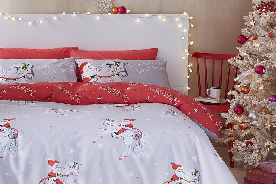 Christmas bedding.