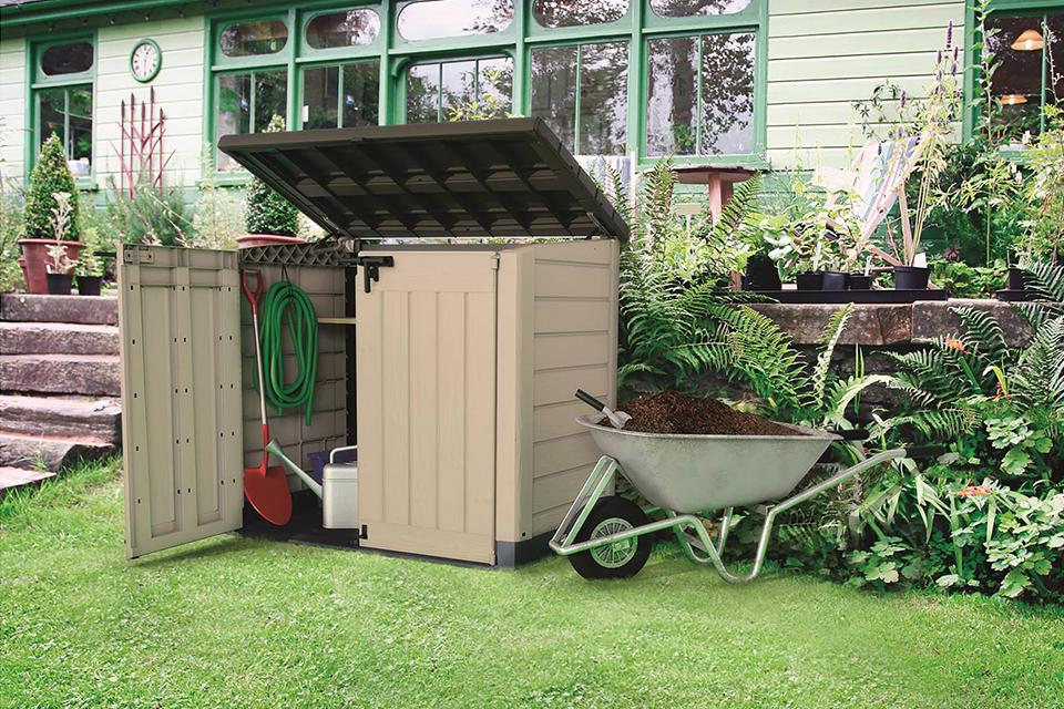 Garden storage with opening roof and doors.