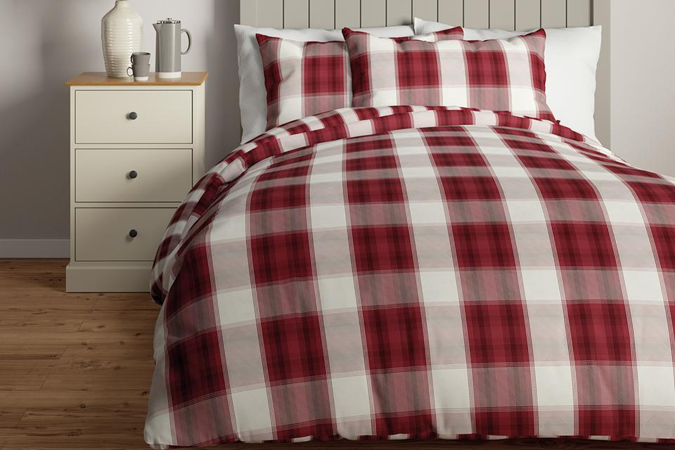 Red and white bedding.
