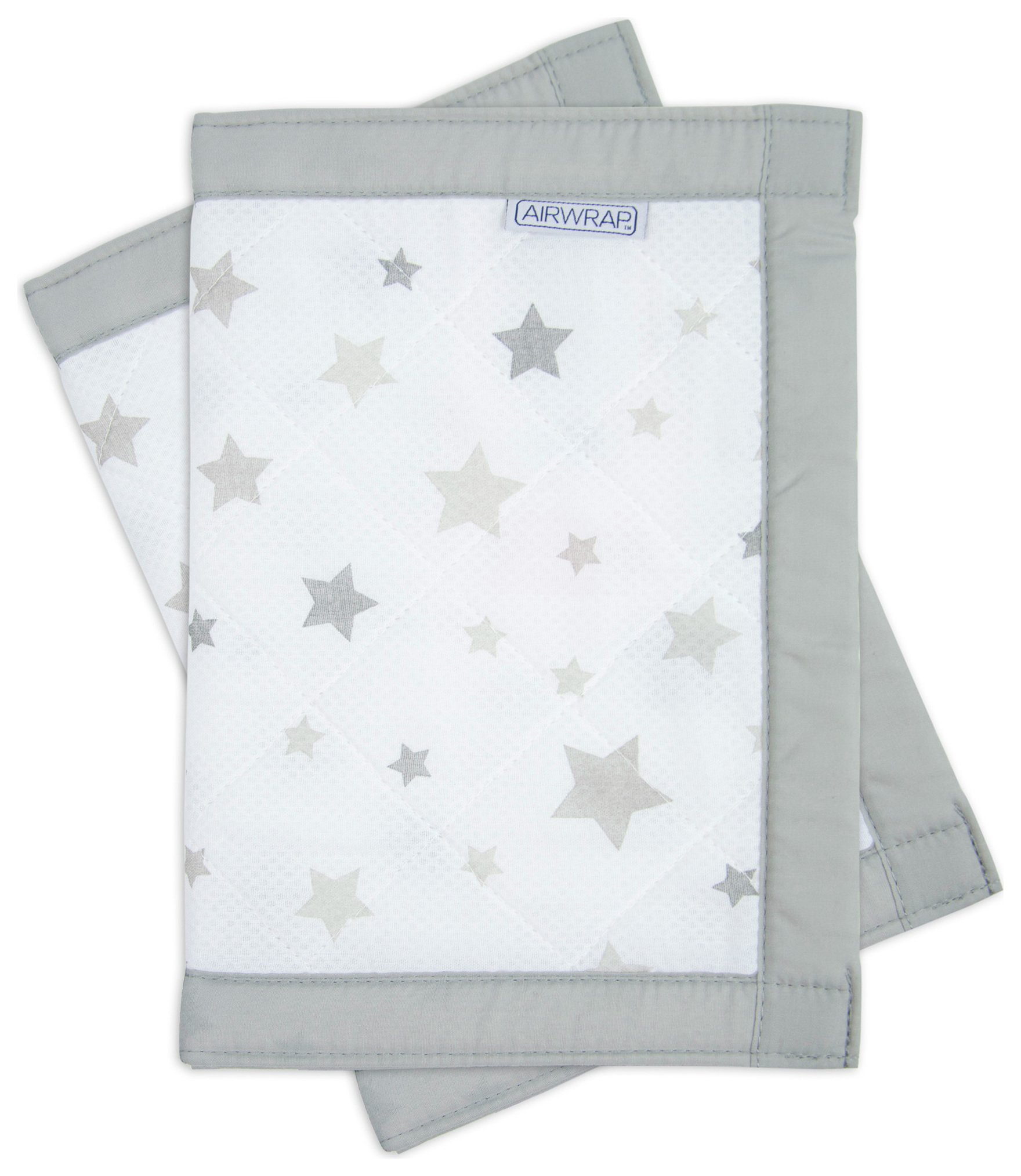 Image of Airwrap - Printed 2 Sided - Cot Bumper - Silver Stars