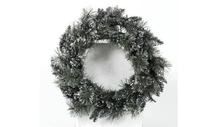 Argos Home Prelit Snowtipped Faux Foliage Christmas Wreath by Argos
