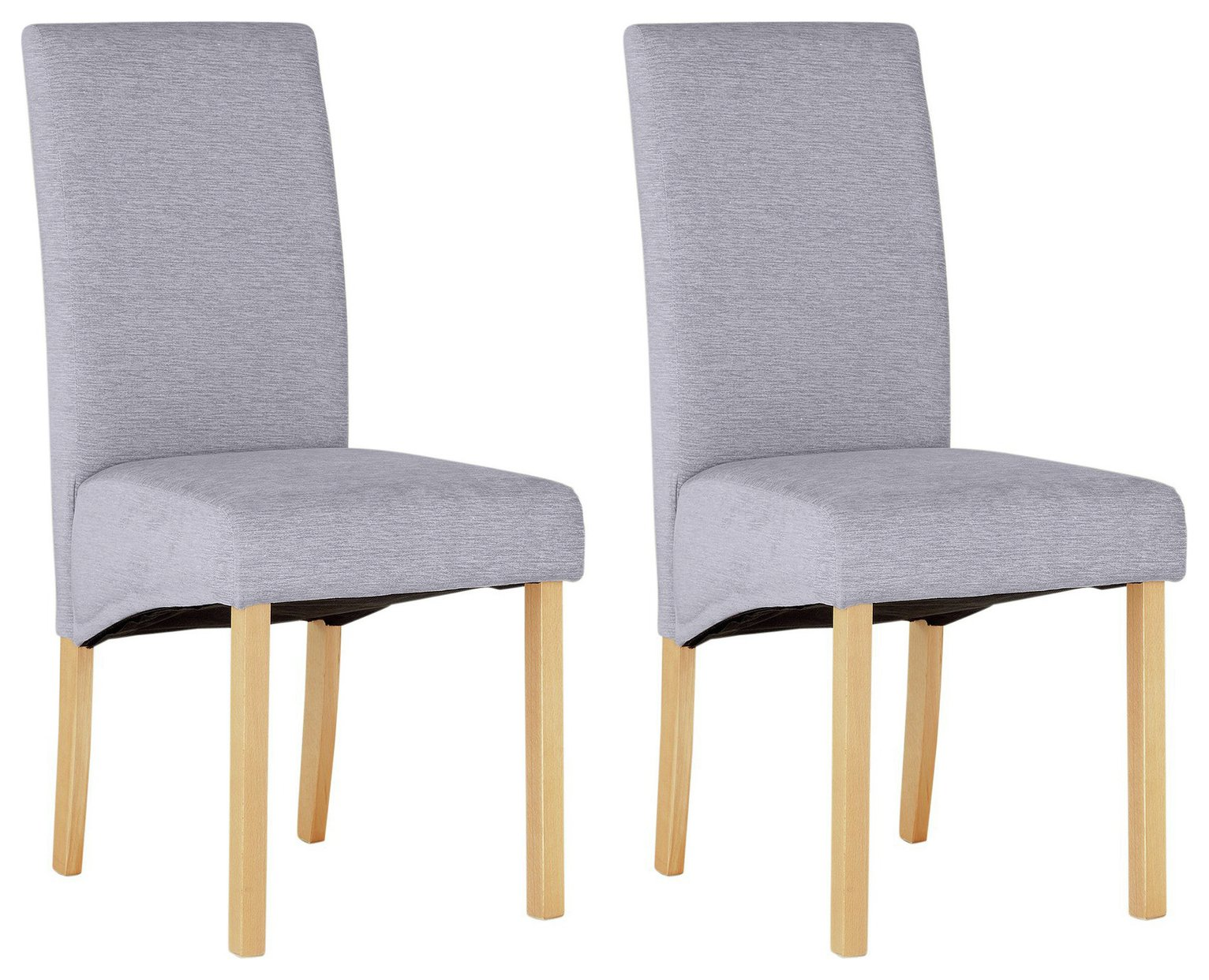 Argos Home Pair of Fabric Skirted Dining Chairs - Pale Grey