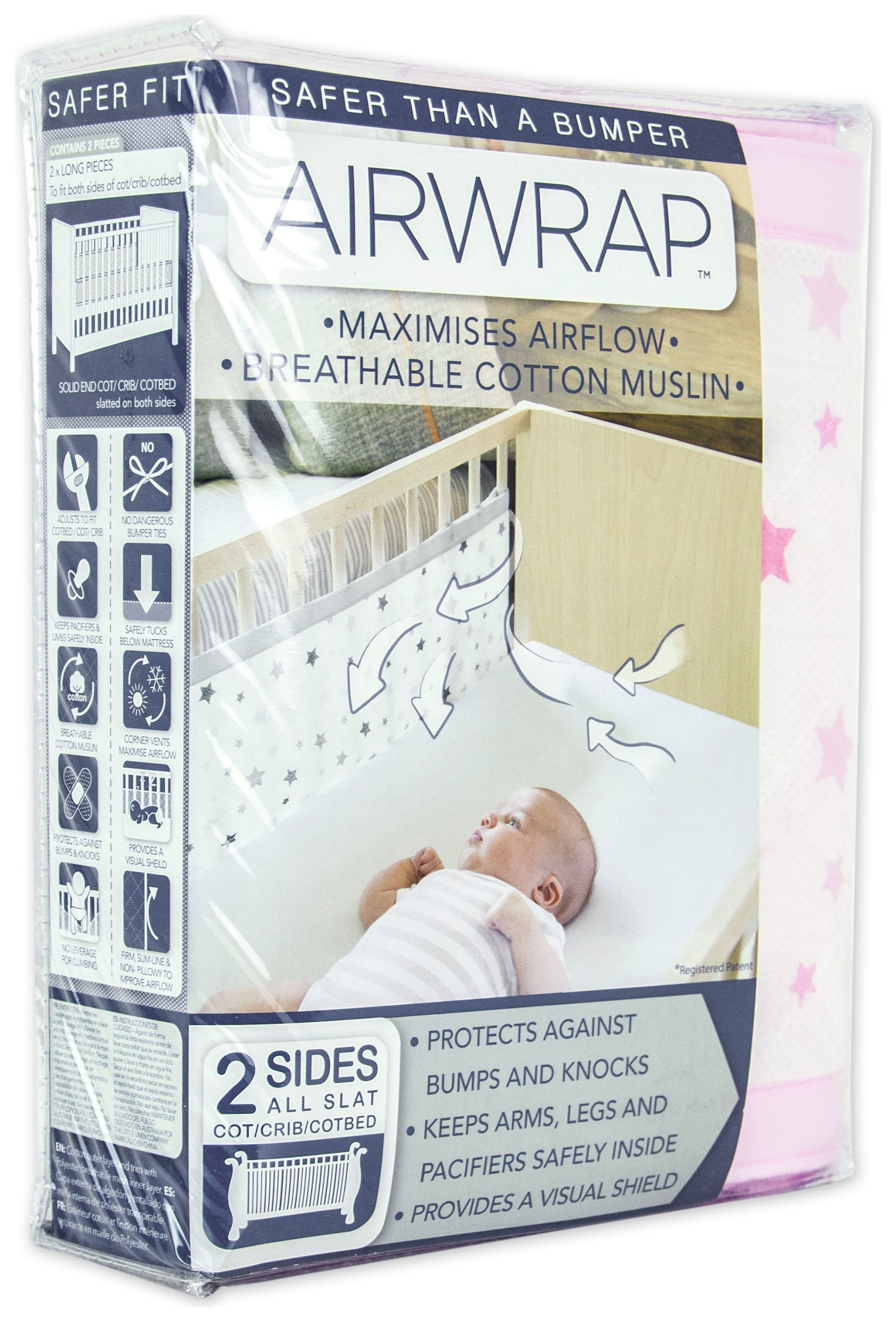 Image of Airwrap - Printed 2 Sided - Cot Bumper - Pink Stars