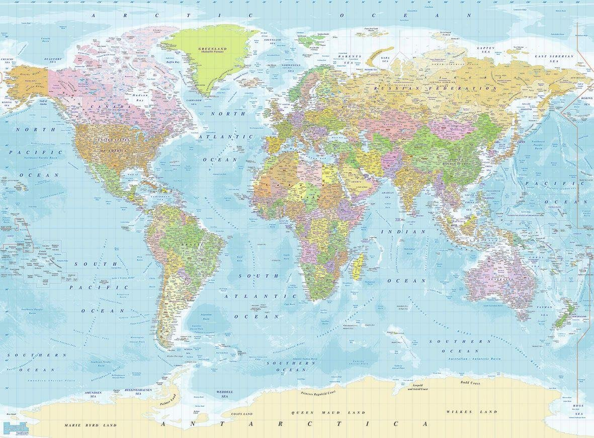 1Wall - Map of the World - Wall Mural