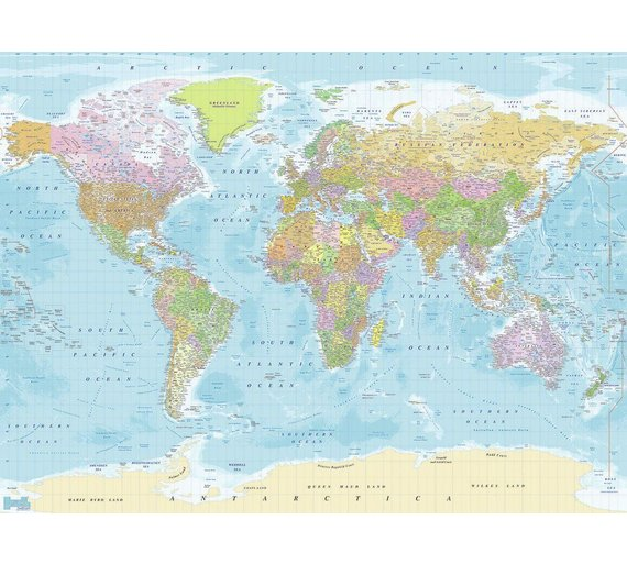 Buy 1wall map of the world wall mural murals and wall stickers argos 1wall map of the world wall mural gumiabroncs Image collections