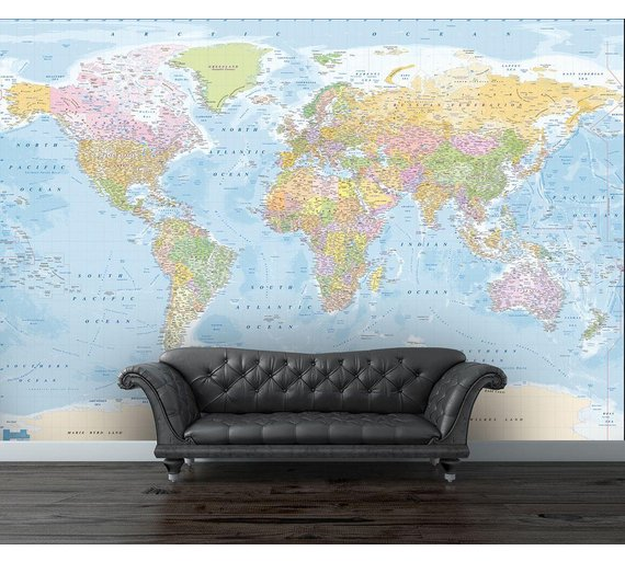 Buy 1wall map of the world wall mural murals and wall stickers argos 1wall map of the world wall mural gumiabroncs Choice Image