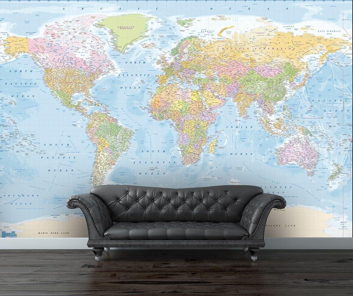 Buy 1Wall Map of the World Wall Mural Murals and wall stickers Argos