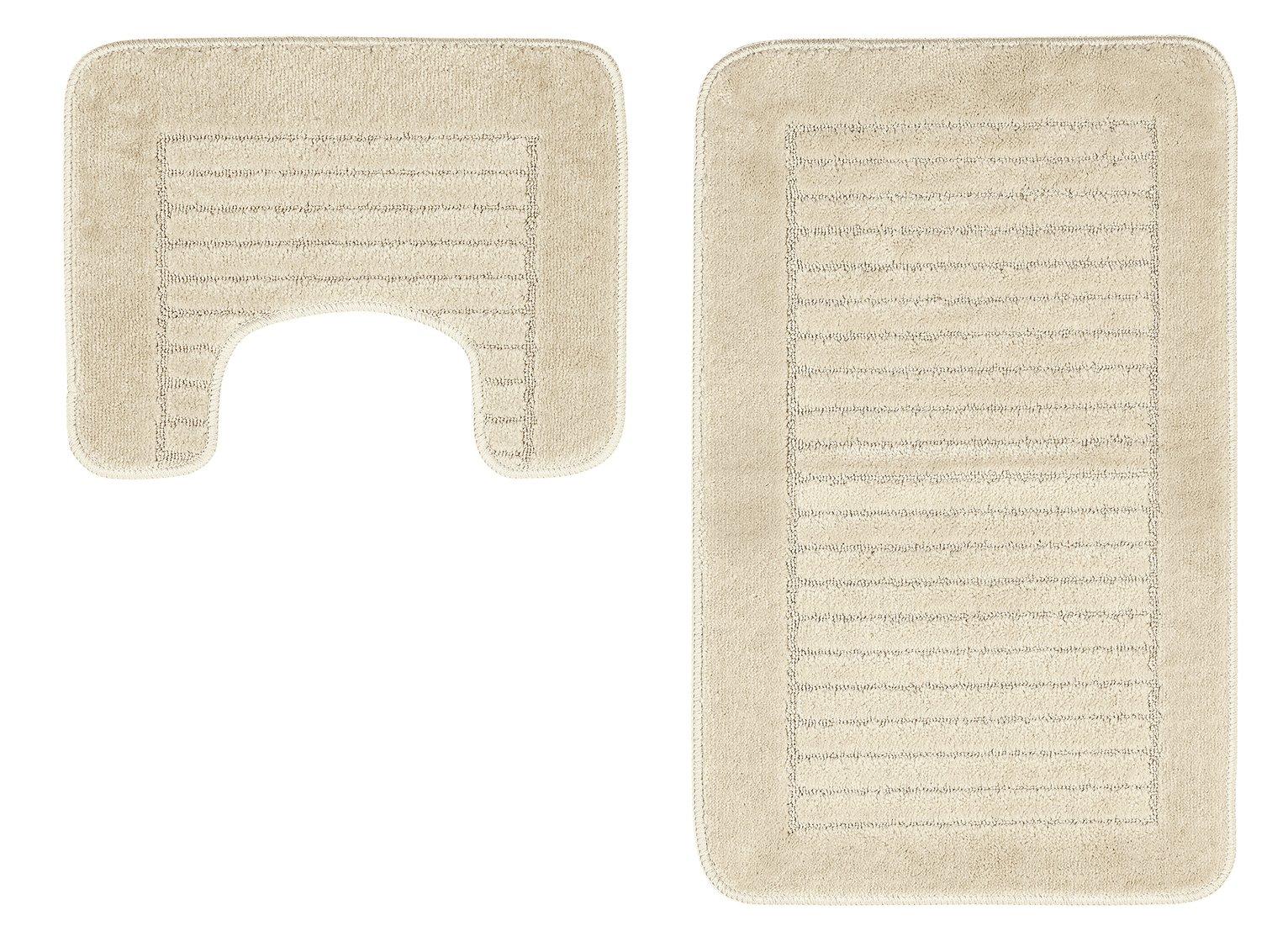 HOME - Striped Bath and Pedestal Mat Set - Cream
