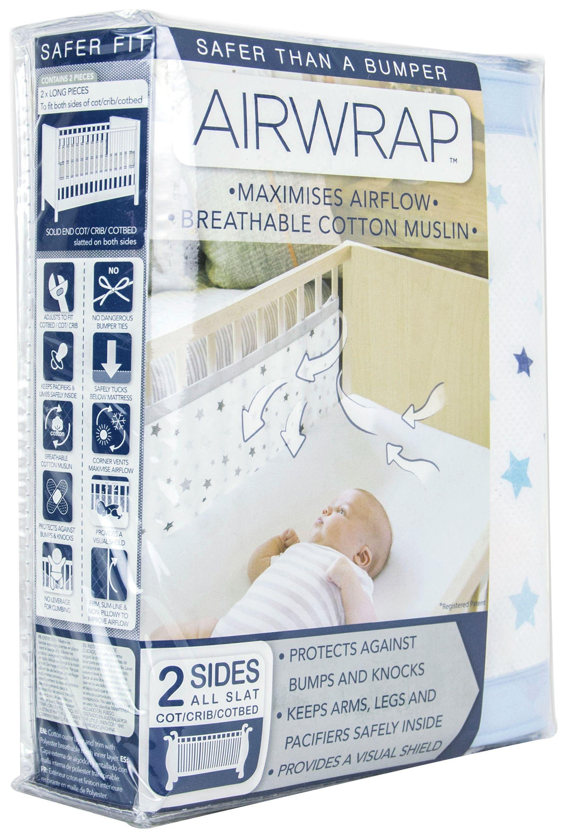 Image of Airwrap - Printed 2 Sided - Cot Bumper - Blue Stars