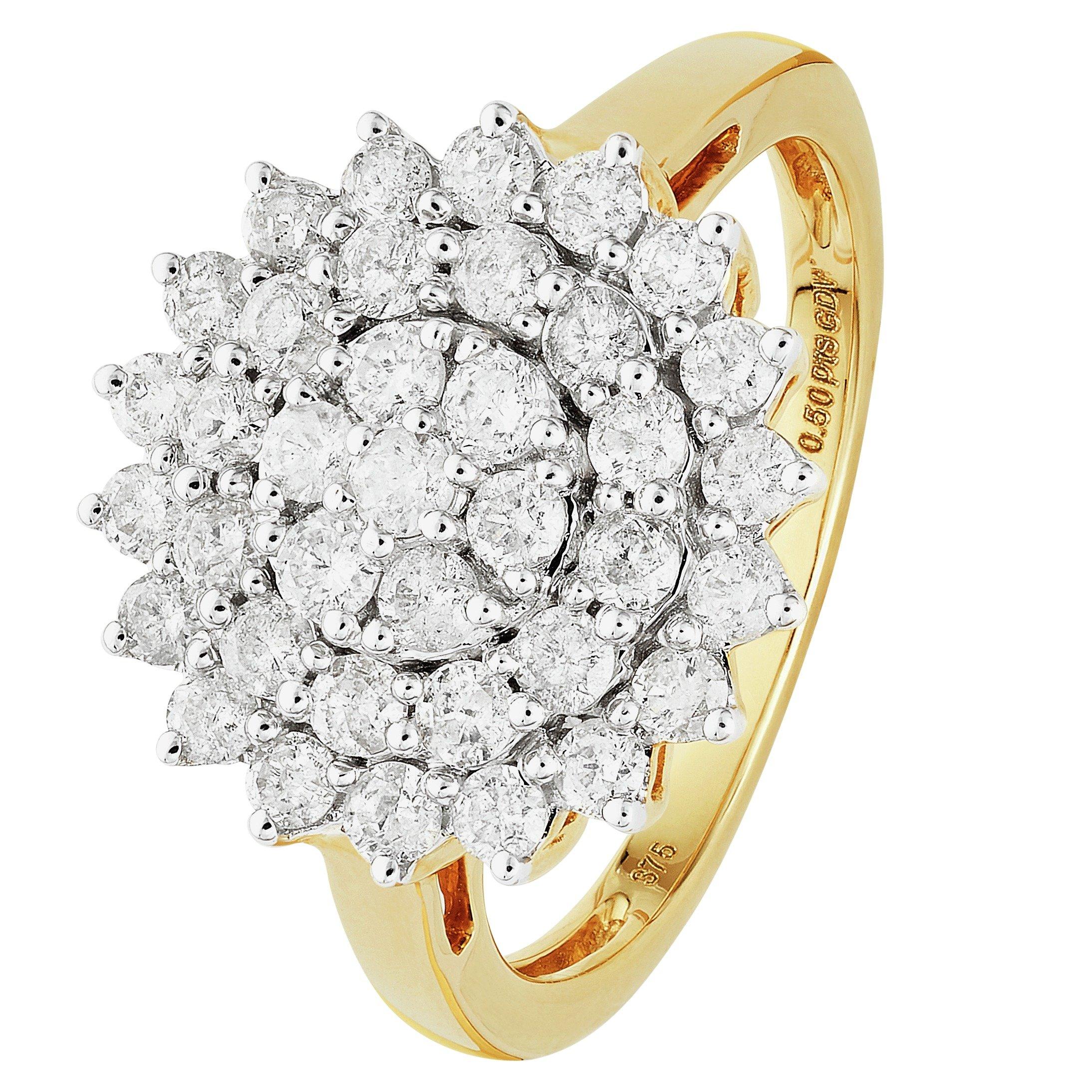 Buy Revere 9ct Gold 1 00ct tw Diamond Cluster Ring at Argos