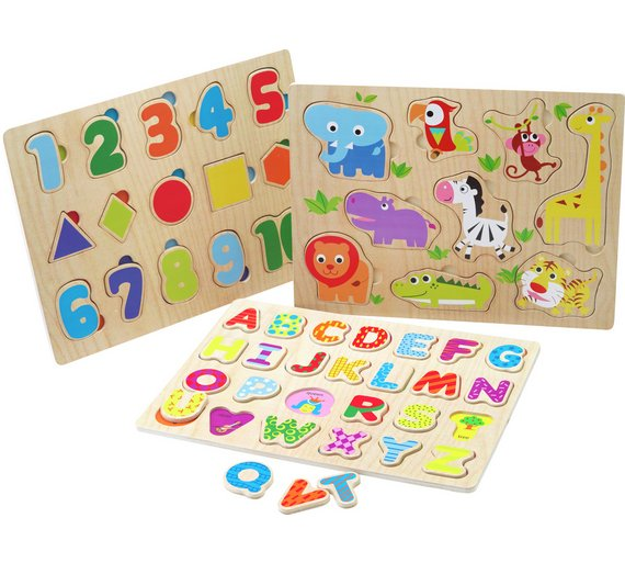 buy chad valley playsmart 3 pack wooden puzzles wooden toys argos