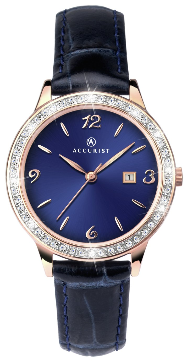 Image of Accurist - Ladies Navy Strap Rose Gold Plated Stone Set - Watch