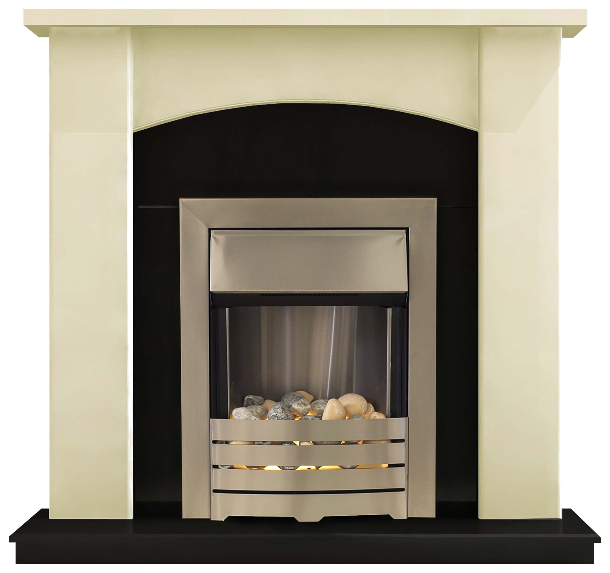Image of Adam - Holden 2kW - Electric Fireplace Suite - Cream & Black