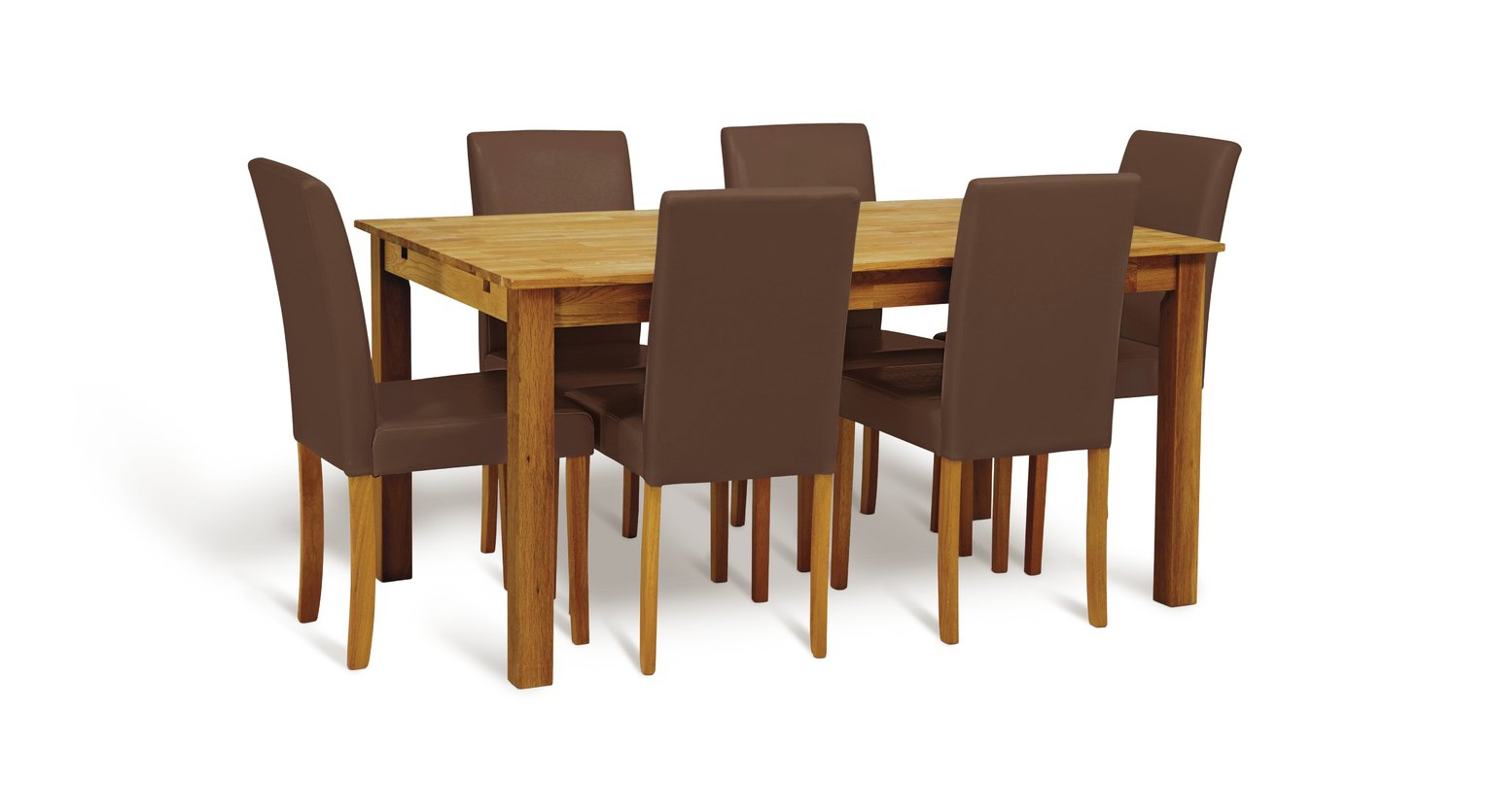 Argos Home Ashdon Solid Wood Table & 6 Chocolate Chairs