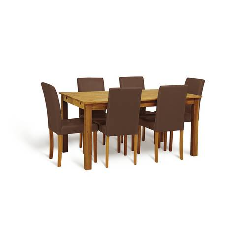 Buy Argos Home Ashdon Solid Wood Table & 6 Chocolate