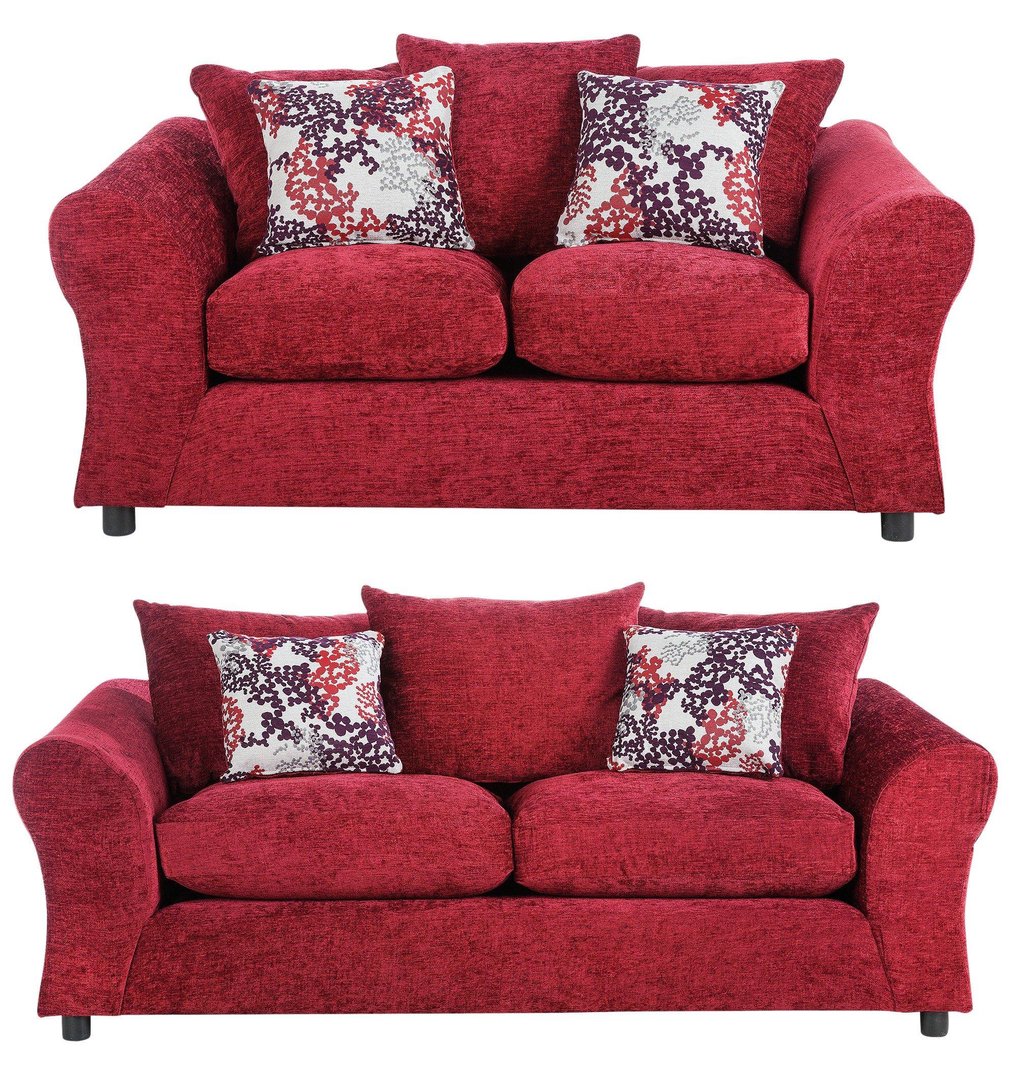 argos home clara fabric 3 seat compact 2 seat sofa red. Black Bedroom Furniture Sets. Home Design Ideas