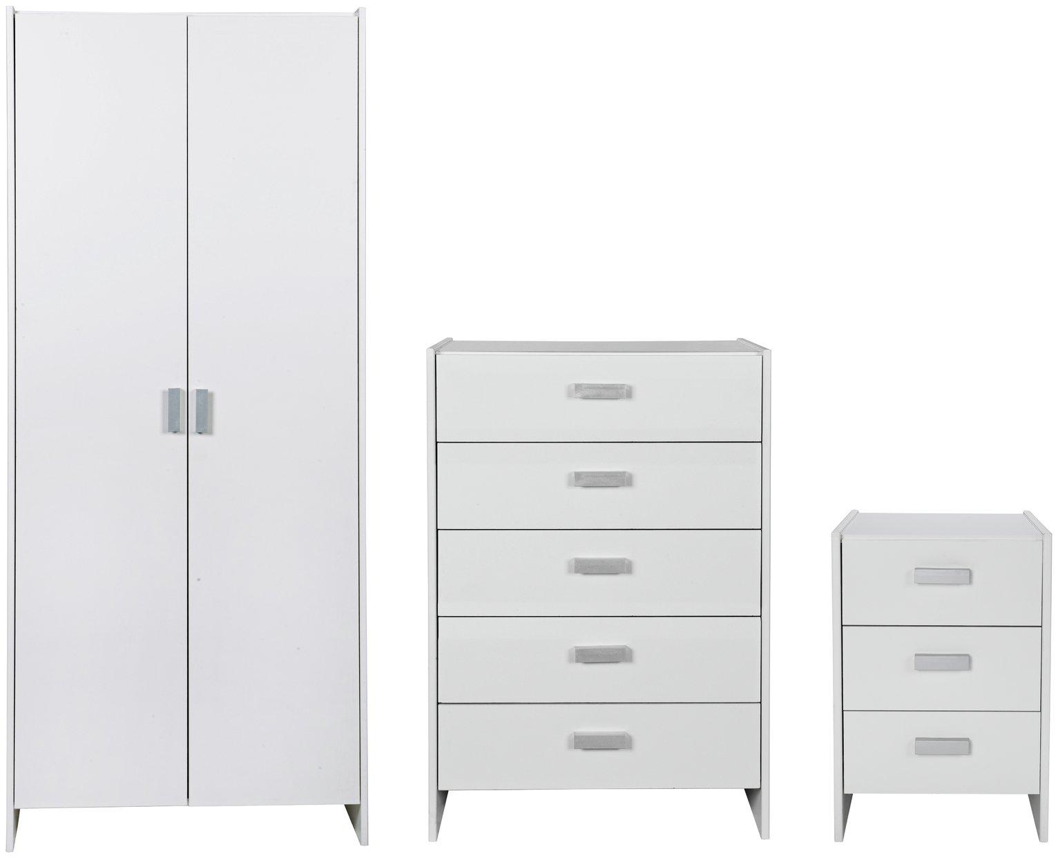HOME Capella 3 Piece 2 Door Wardrobe Package - White