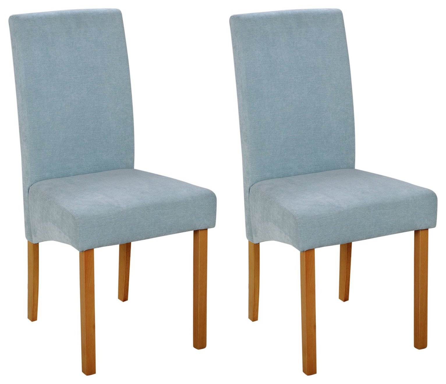 Argos Home Pair of Fabric Skirted Dining Chairs - Duck Egg