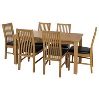 Home Ashdon Solid Wood Table & 6 Paris Chairs (Black)