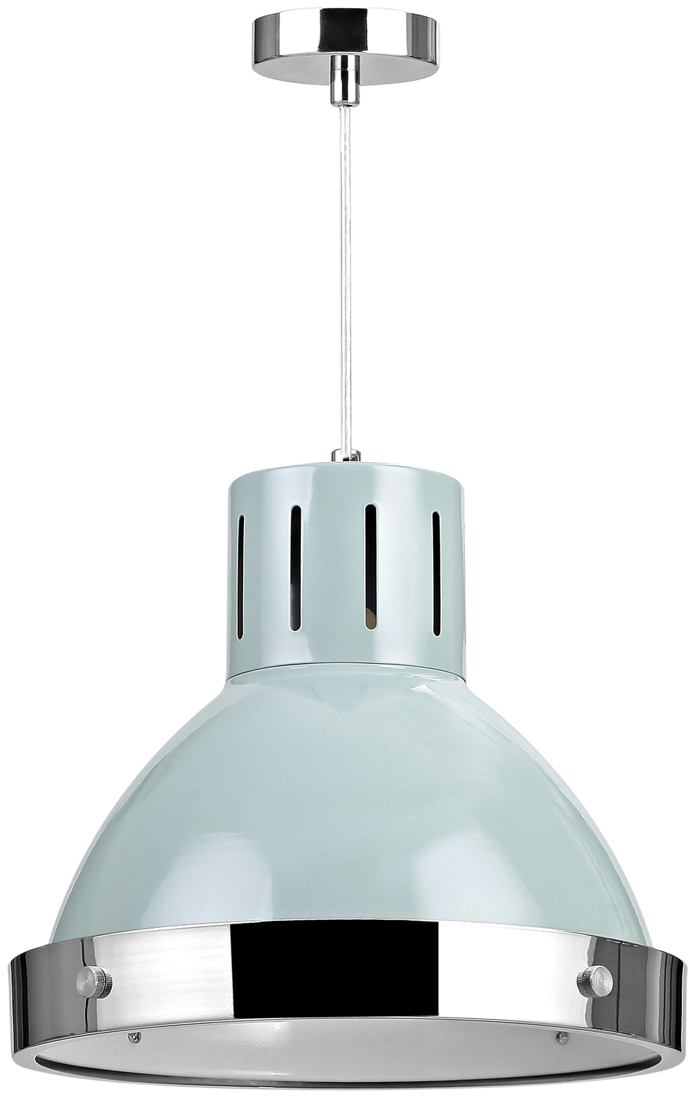Vermont Dome Pendant Light - Light Blue and Chrome