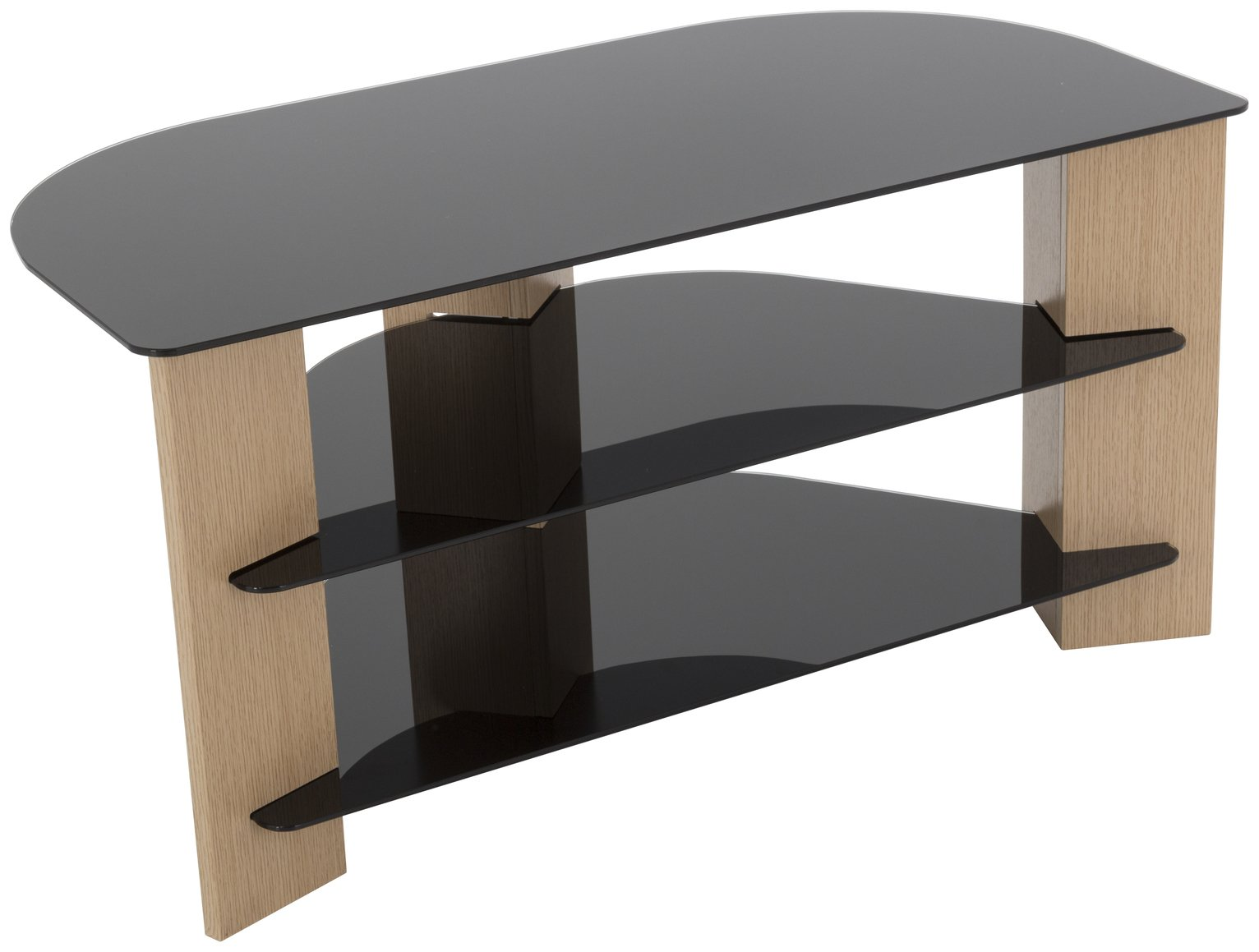 AVF Up to 42 Inch TV Stand - Black Glass and Oak Effect