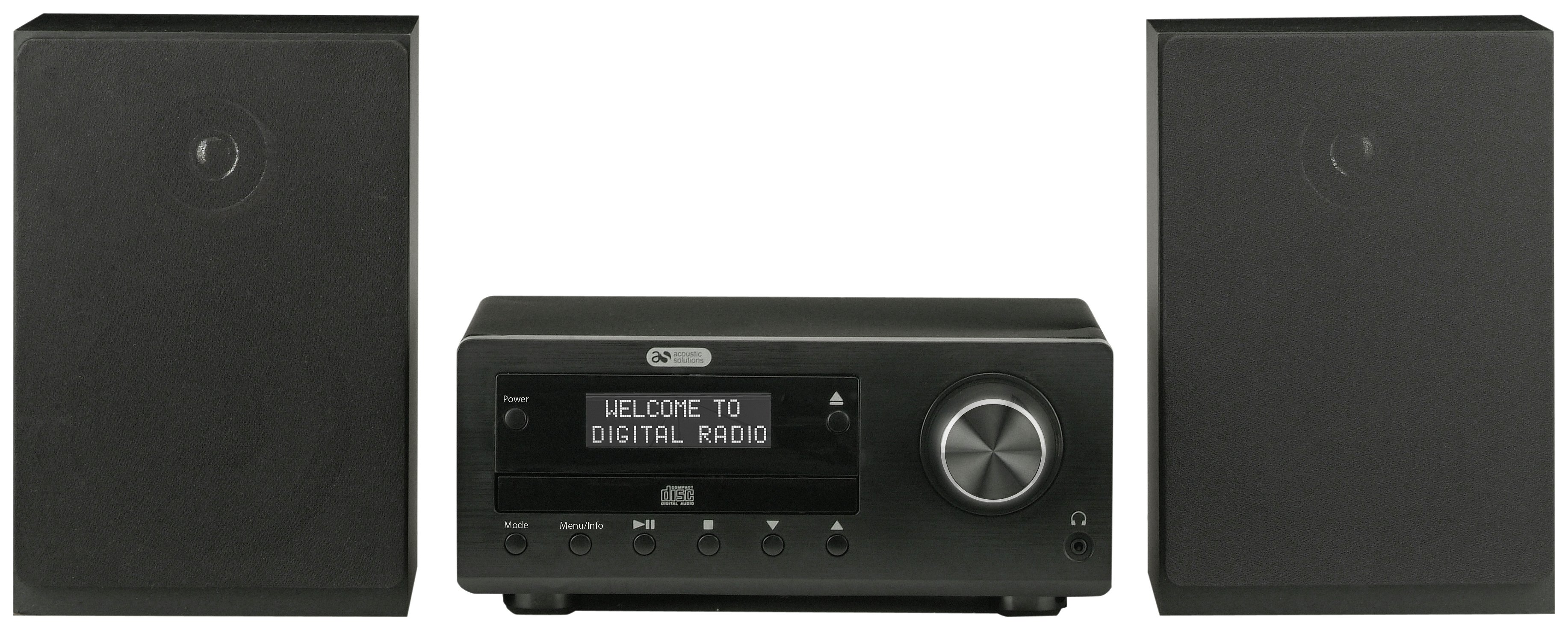 Image of Acoustic Solutions - Bluetooth DAB CD Micro System - Black