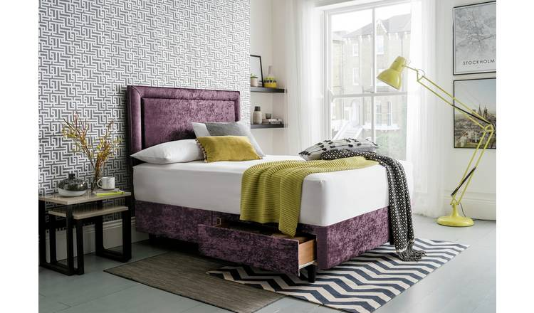 Silentnight Toulouse Velvet Double Divan - Purple