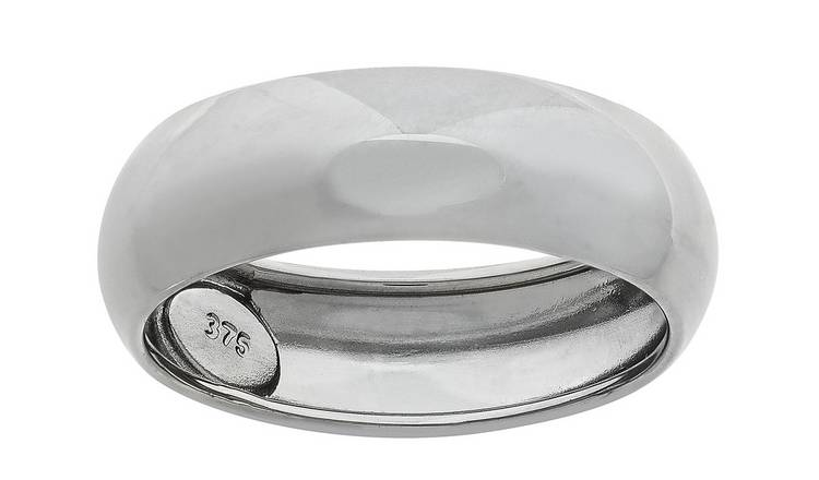 Revere 9ct White Gold D-Shape Wedding Ring - 6mm - T