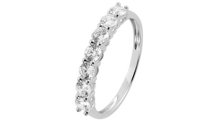 Revere 9ct White Gold Cubic Zirconia Eternity Ring - S