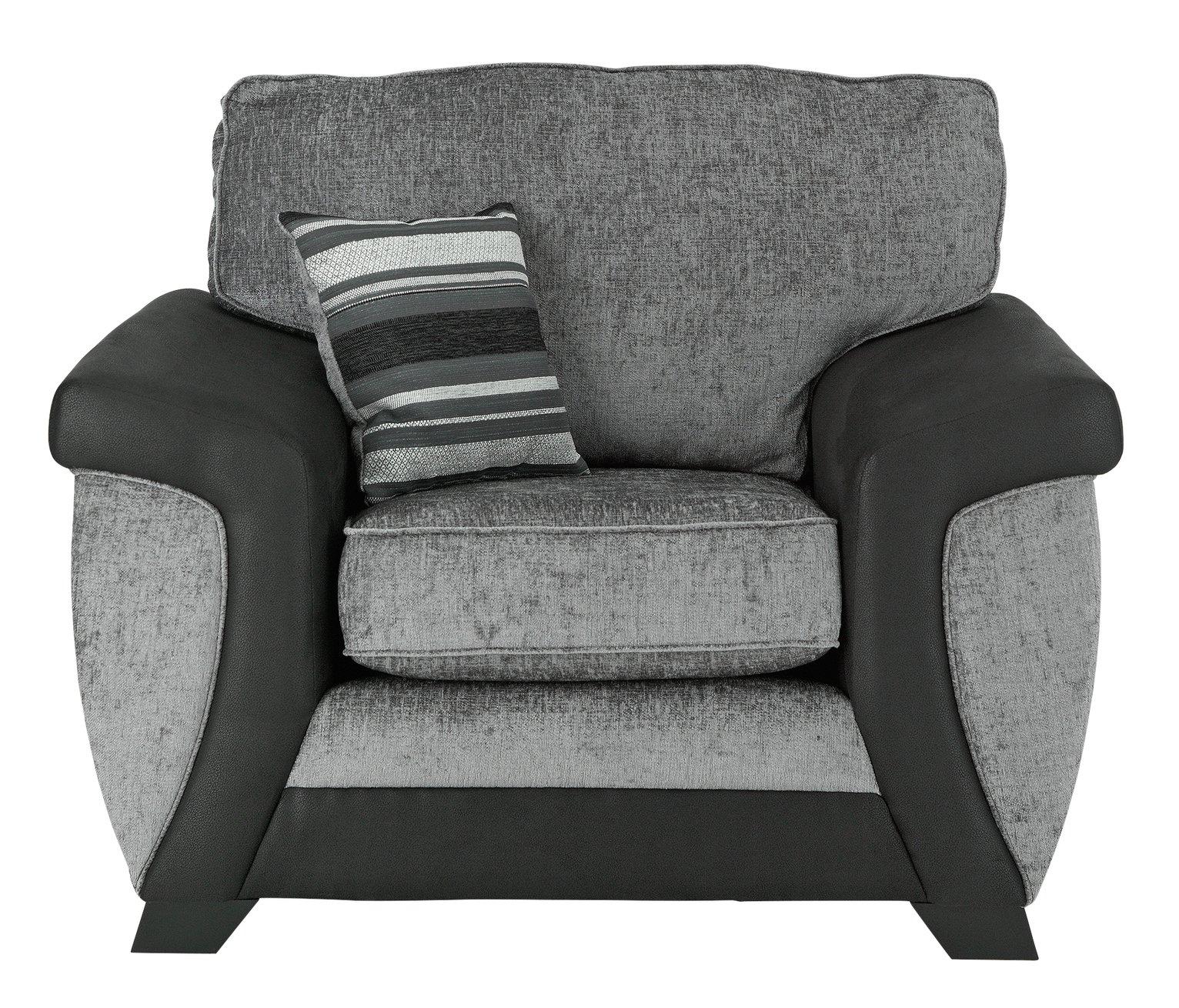 Argos Home Illusion Fabric Cuddle Chair - Black & Grey