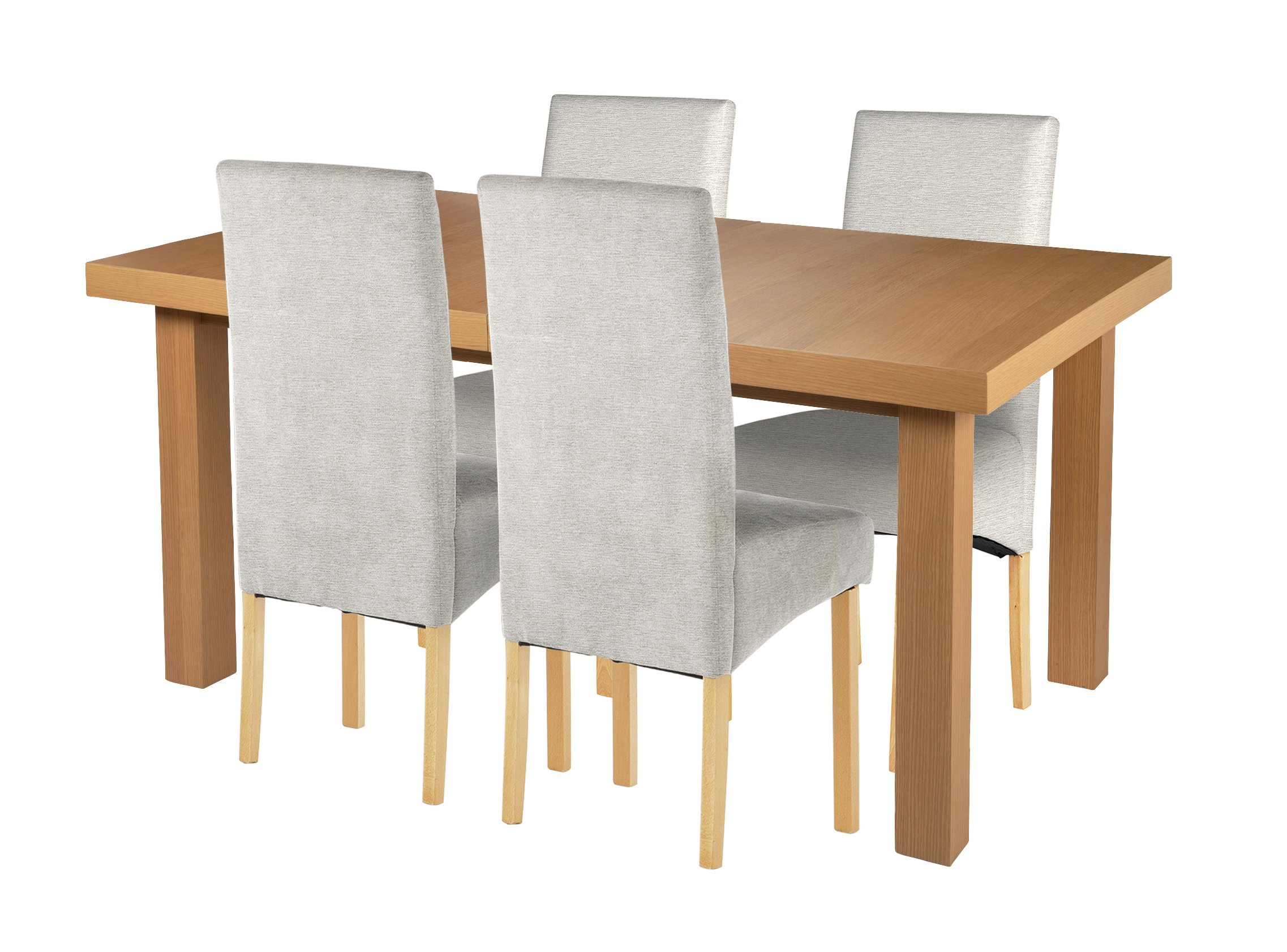 Image of Cosgrove Ext Oak Veneer Dining Table & 4 Chairs - Grey