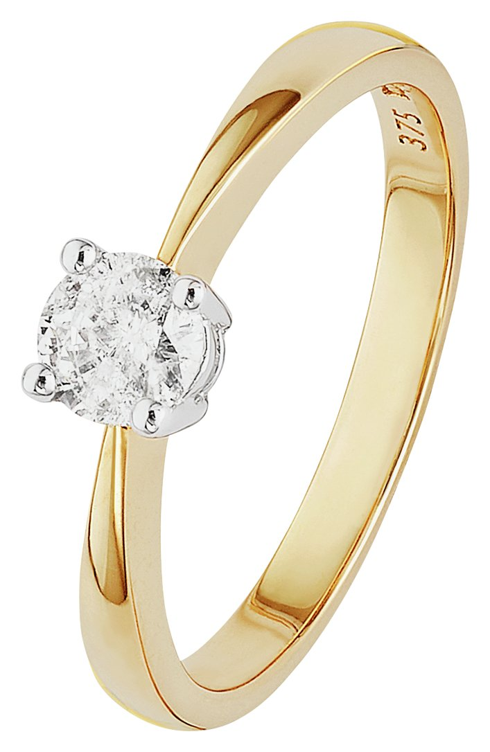 Revere 9ct Yellow Gold 0.33ct Diamond Solitaire Ring