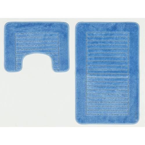 Buy Argos Home Striped Bath And Pedestal Mat Set Blue