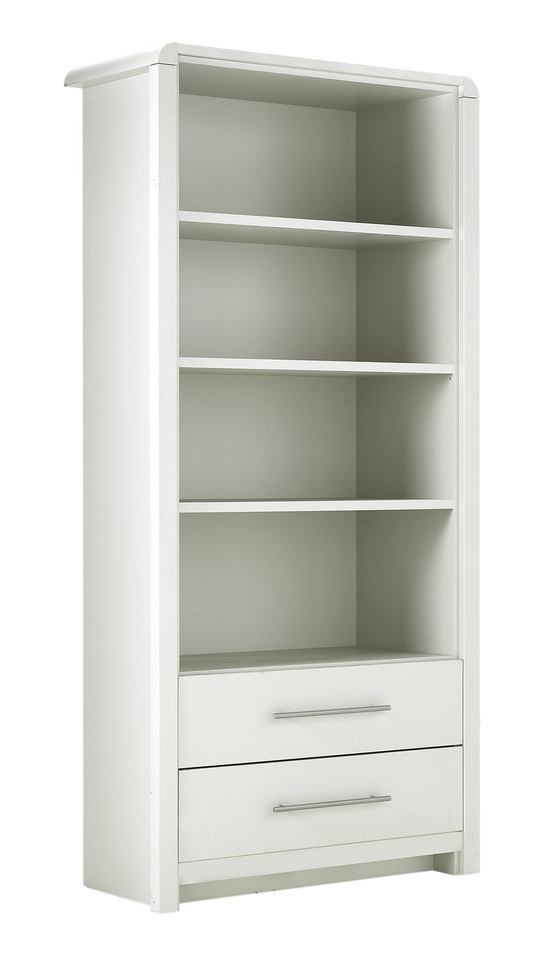 Heart of House Elford 3 Shelf 2 Drawer Bookcase - Matt White