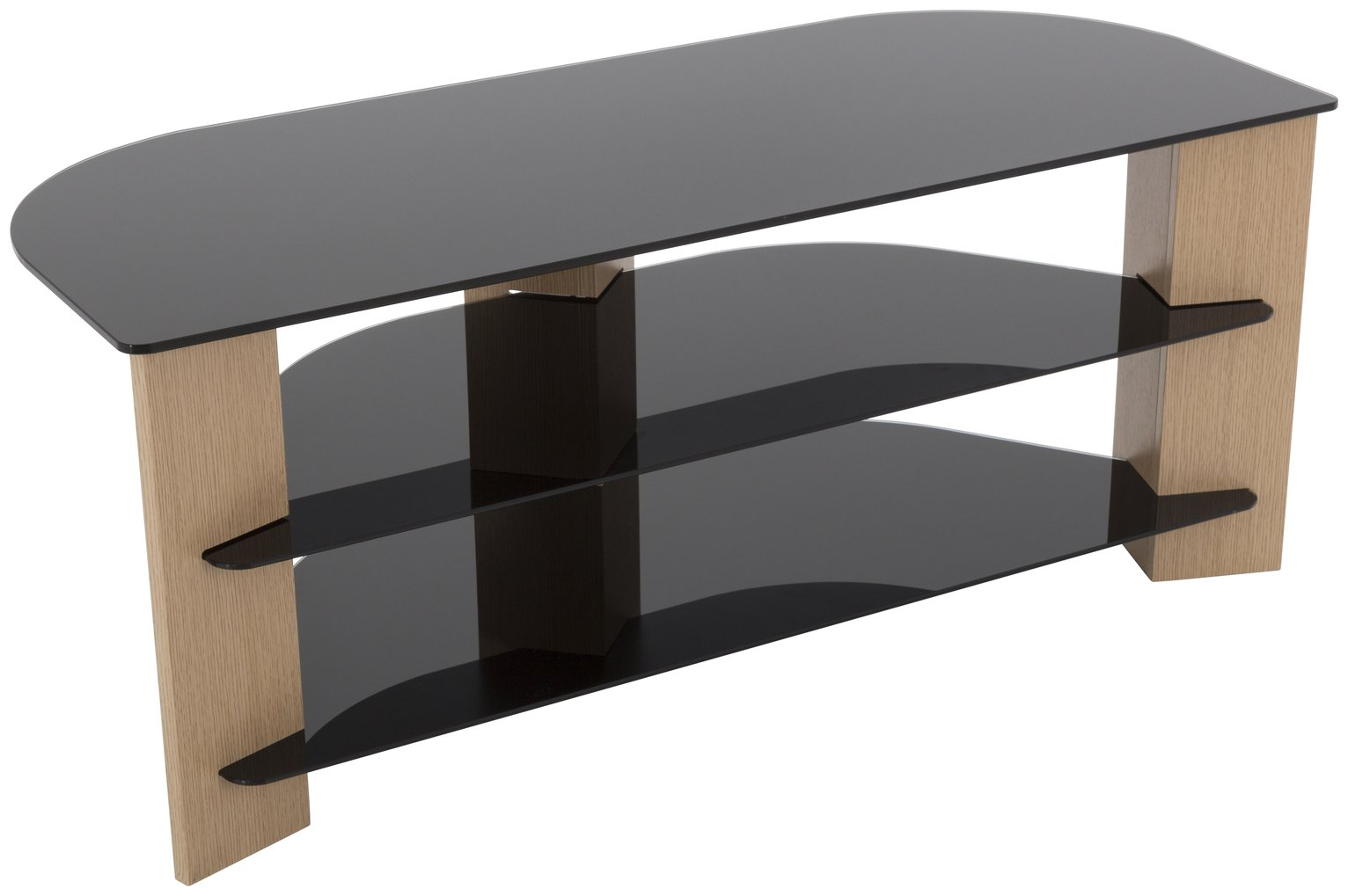 AVF Up to 55 Inch TV Stand - Black Glass and Oak Effect