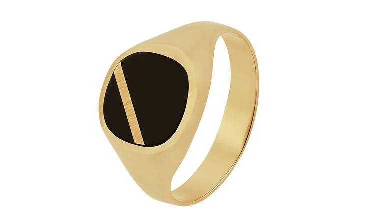 Revere 9ct Gold Onyx Stripe Ring - S
