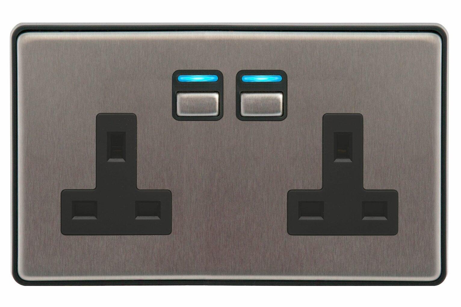 Lightwave Smart Series Socket -2 Gang- Stainless Steel