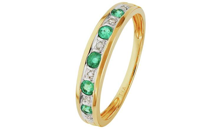 Revere 9ct Gold Emerald & Diamond Eternity Ring - L