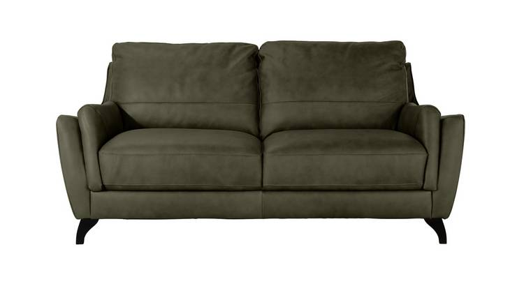 Argos Home Leonardo 3 Seater Leather Sofa - Khaki Grey