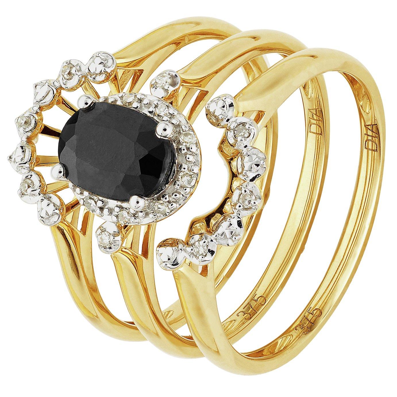 Revere 9ct Gold Sapphire Diamond Bridal Ring Set - N