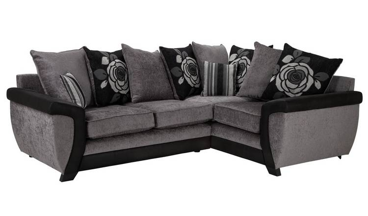 Peachy Buy Argos Home Illusion Right Corner Fabric Sofa Black Grey Sofas Argos Inzonedesignstudio Interior Chair Design Inzonedesignstudiocom