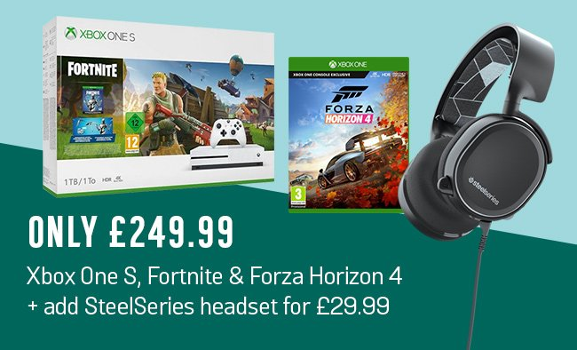 Buy Xbox One S 1TB with Fortnite and Forza Horizon 4 £249.99. Plus get Steel Series Arctis 3 headset for £29.99 extra.