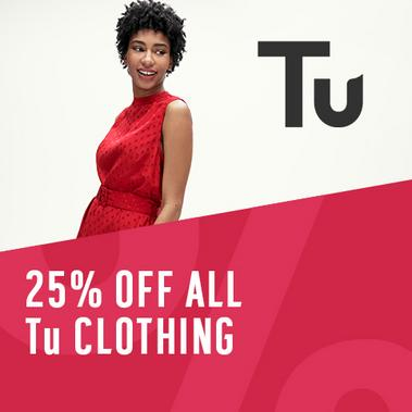 Save 25% on Tu clothing.