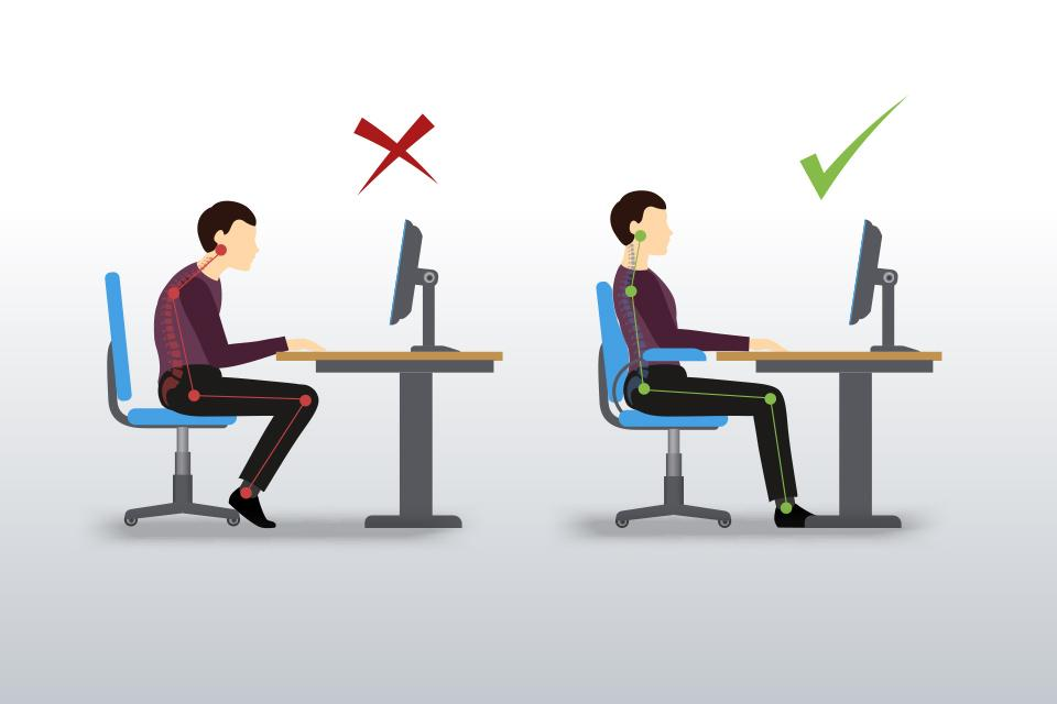 Correct posture for sitting at a desk.