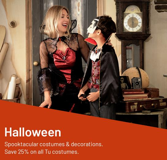 Halloween. Spooktacular costumes & decorations. Save 25% on all Tu costumes.