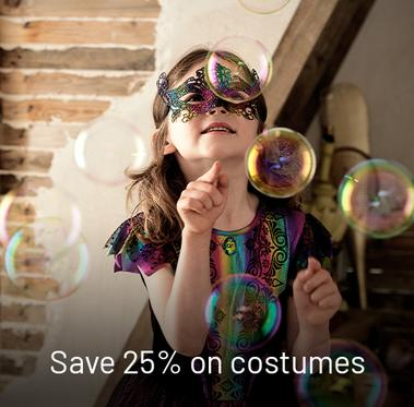 Save 25% on costumes.