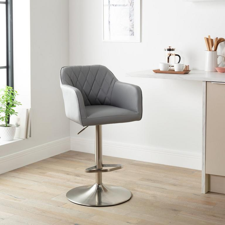 Argos Home Ellington Quilted Faux Leather Bar Stool - Grey.