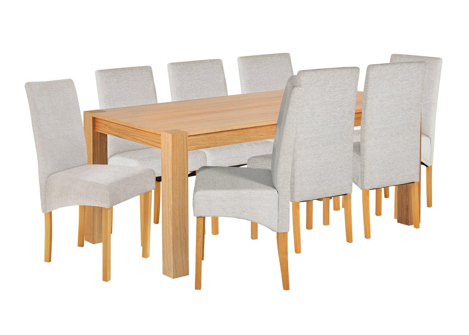 Heart of House Alston Oak Veneer Table & 8 Chairs - Grey