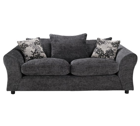 HOME New Clara 3 Seater Fabric Sofa   Charcoal. Buy HOME New Clara 3 Seater Fabric Sofa   Charcoal at Argos co uk